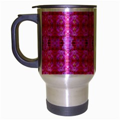 Pretty Pink Flower Pattern Travel Mug (silver Gray) by Costasonlineshop