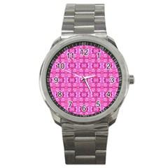 Pretty Pink Flower Pattern Sport Metal Watches by Costasonlineshop