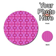 Pretty Pink Flower Pattern Multi Purpose Cards (round)  by Costasonlineshop