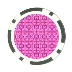 Pretty Pink Flower Pattern Poker Chip Card Guards (10 Pack)