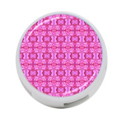 Pretty Pink Flower Pattern 4 Port Usb Hub (one Side)