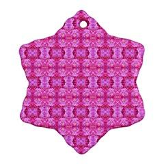 Pretty Pink Flower Pattern Ornament (Snowflake)  by Costasonlineshop