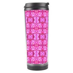 Pretty Pink Flower Pattern Travel Tumblers by Costasonlineshop
