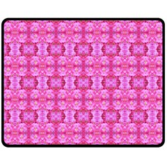 Pretty Pink Flower Pattern Double Sided Fleece Blanket (medium)  by Costasonlineshop