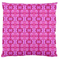 Pretty Pink Flower Pattern Large Flano Cushion Cases (one Side)  by Costasonlineshop