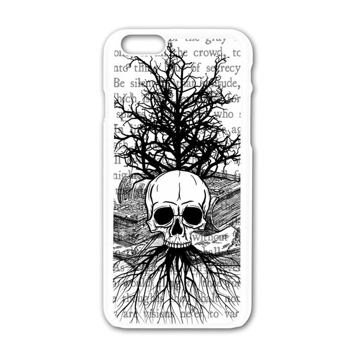 Skull & Books Apple iPhone 6/6S White Enamel Case