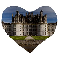Chambord Castle Large 19  Premium Flano Heart Shape Cushions by trendistuff