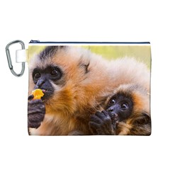 Two Monkeys Canvas Cosmetic Bag (l) by trendistuff