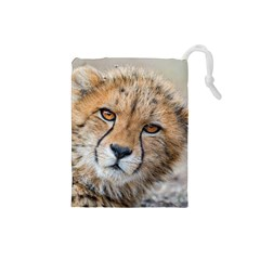 Leopard Laying Down Drawstring Pouches (small)  by trendistuff