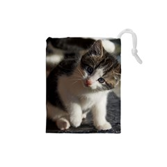 Questioning Kitty Drawstring Pouches (small)  by trendistuff