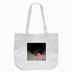 Puppy With A Chew Toy Tote Bag (white)  by trendistuff