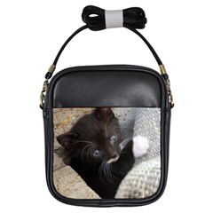 Pretty Blue Eyed Kitty Girls Sling Bags by trendistuff