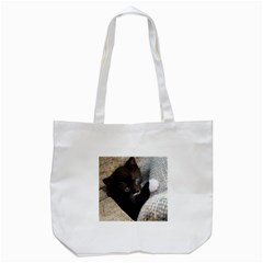 Pretty Blue Eyed Kitty Tote Bag (white)  by trendistuff