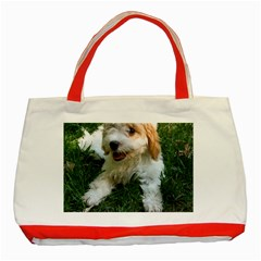 Cute Cavapoo Puppy Classic Tote Bag (red)  by trendistuff