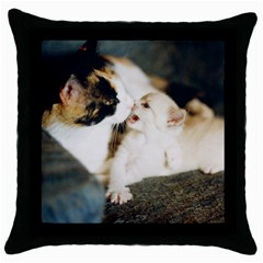 Calico Cat And White Kitty Throw Pillow Cases (black) by trendistuff
