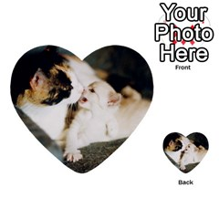 Calico Cat And White Kitty Multi Purpose Cards (heart)  by trendistuff