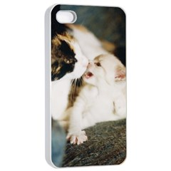 Calico Cat And White Kitty Apple Iphone 4/4s Seamless Case (white) by trendistuff