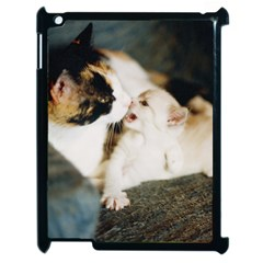 Calico Cat And White Kitty Apple Ipad 2 Case (black) by trendistuff