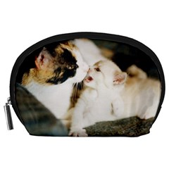 Calico Cat And White Kitty Accessory Pouches (large)  by trendistuff