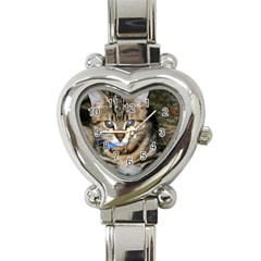 Blue Eyed Kitty Heart Italian Charm Watch by trendistuff
