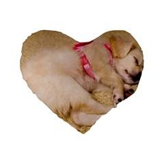 Adorable Sleeping Puppy Standard 16  Premium Flano Heart Shape Cushions by trendistuff