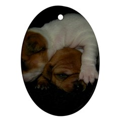 Adorable Baby Puppies Oval Ornament (two Sides) by trendistuff