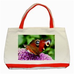 Peacock Butterfly Classic Tote Bag (red)  by trendistuff
