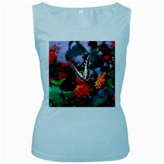 Butterfly Flowers 1 Women s Baby Blue Tank Tops by trendistuff