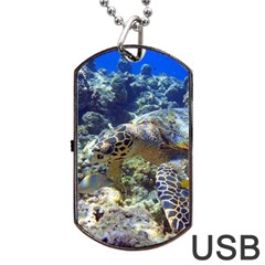 Sea Turtle Dog Tag Usb Flash (two Sides)  by trendistuff