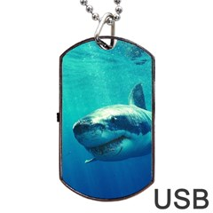 GREAT WHITE SHARK 1 Dog Tag USB Flash (Two Sides)  by trendistuff