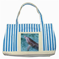 DOLPHIN 2 Striped Blue Tote Bag  by trendistuff
