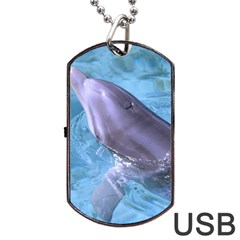 Dolphin 2 Dog Tag Usb Flash (one Side) by trendistuff