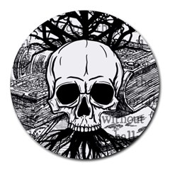 Skull & Books Round Mousepads by waywardmuse