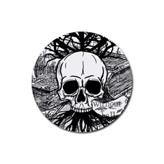 Skull & Books Rubber Round Coaster (4 pack)