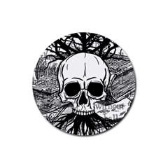 Skull & Books Rubber Round Coaster (4 Pack)
