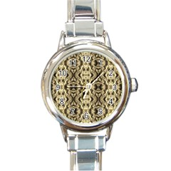 Gold Fabric Pattern Design Round Italian Charm Watches