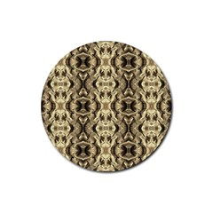 Gold Fabric Pattern Design Rubber Round Coaster (4 Pack)  by Costasonlineshop