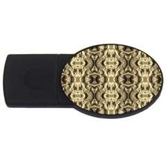 Gold Fabric Pattern Design Usb Flash Drive Oval (2 Gb)