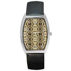Gold Fabric Pattern Design Barrel Metal Watches by Costasonlineshop