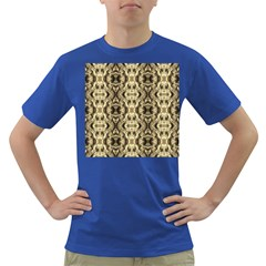 Gold Fabric Pattern Design Dark T Shirt by Costasonlineshop