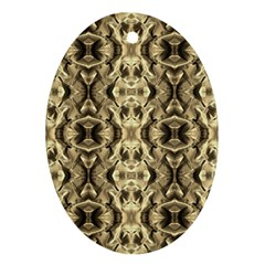 Gold Fabric Pattern Design Oval Ornament (two Sides)