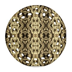 Gold Fabric Pattern Design Ornament (round Filigree)  by Costasonlineshop