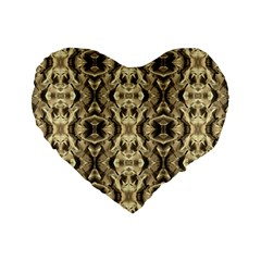 Gold Fabric Pattern Design Standard 16  Premium Heart Shape Cushions