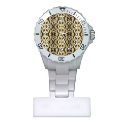 Gold Fabric Pattern Design Nurses Watches by Costasonlineshop