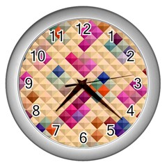 Mosaic & Co 01a  Wall Clocks (silver)  by MoreColorsinLife