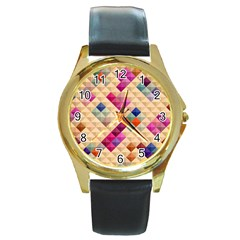 Mosaic & Co 01a  Round Gold Metal Watches by MoreColorsinLife