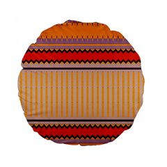 Stripes And Chevrons standard 15  Premium Flano Round Cushion by LalyLauraFLM