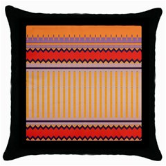 Stripes And Chevrons			throw Pillow Case (black) by LalyLauraFLM