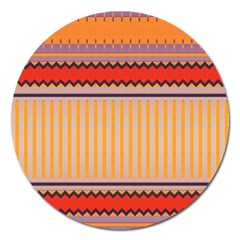 Stripes And Chevrons			magnet 5  (round) by LalyLauraFLM