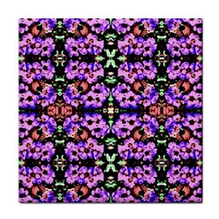 Purple Green Flowers With Green Tile Coasters by Costasonlineshop
